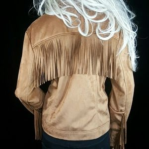 RACHEL ROY BROWN FRINGE FAUX SUEDE JACKET COAT